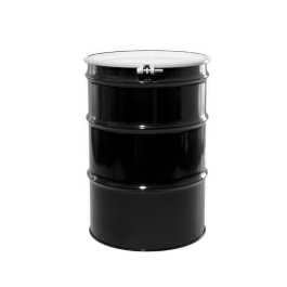 55 Gallon Reconditioned Black Open Head Steel Drum with White Lid