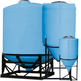 1300 Gallon Light Blue Cone Bottom Tank