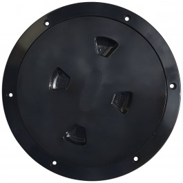 "Installed 8"" Inspection Lid - Black Collar, Black Lid"