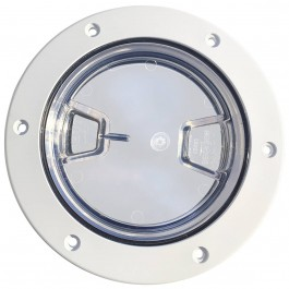 "Installed 4"" Inspection Lid - White Collar, Clear Lid"