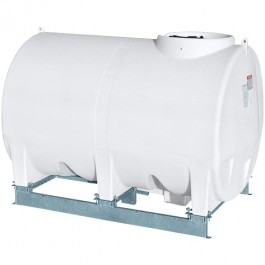 1000 Gallon White Horizontal Sump Bottom Leg Tank w/ Frame