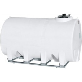 2500 Gallon White Horizontal Sump Bottom Leg Tank w/ Frame