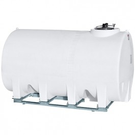 3000 Gallon White Horizontal Sump Bottom Leg Tank w/ Frame
