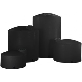 1000 Gallon Black Vertical Storage Tank