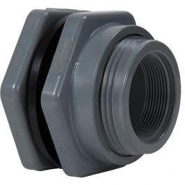 "1/2"" PVC Female NPT Bulkhead Fitting w/ EPDM Gasket"