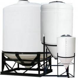 225 Gallon Heavy Duty Cone Bottom Tank w/ Poly Stand