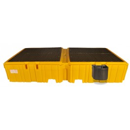 UltraTech Twin IBC Spill Pallet w/ 1 Right Bucket Shelf, With Drain