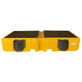 UltraTech Twin IBC Spill Pallet w/ 2 Bucket Shelves, With Drain