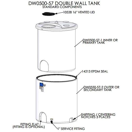 500 Gallon Double Wall Tank Ace Roto Mold Dw0500 57