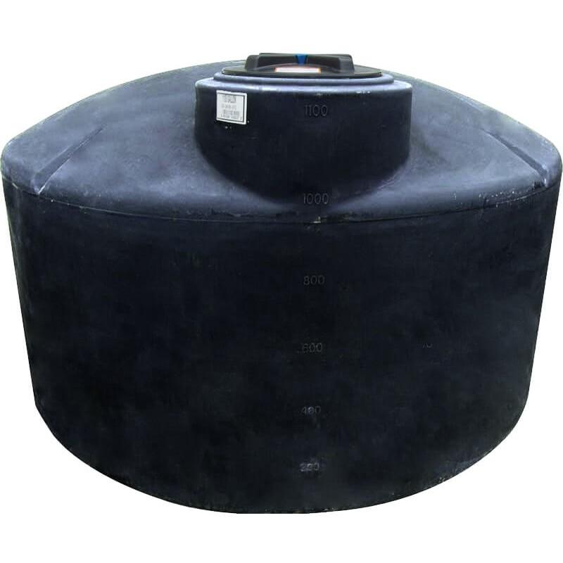 1100 Gallon Water Storage Tank Black Norwesco 40704